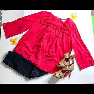 LOFT Pink Fringe Neckline 3/4-Sleeve Top